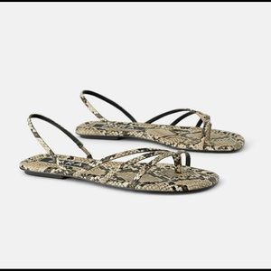 Zara animal print flat sandals sz 8